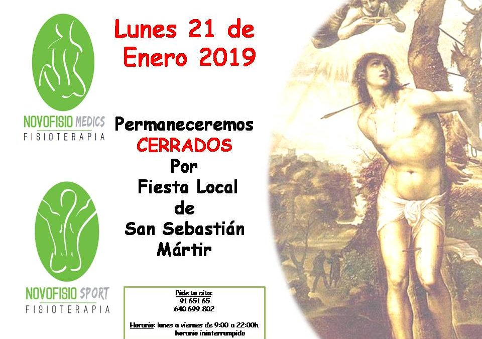 El LUNES 21 DE ENERO 2019 permeneceremos CERRADOS por fiesta Local de San Sebastián de los Reyes