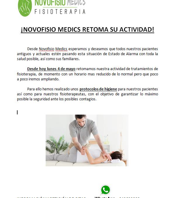 Hoy Lunes 4 de mayo NOVOFISIO MEDICS retoma su actividad